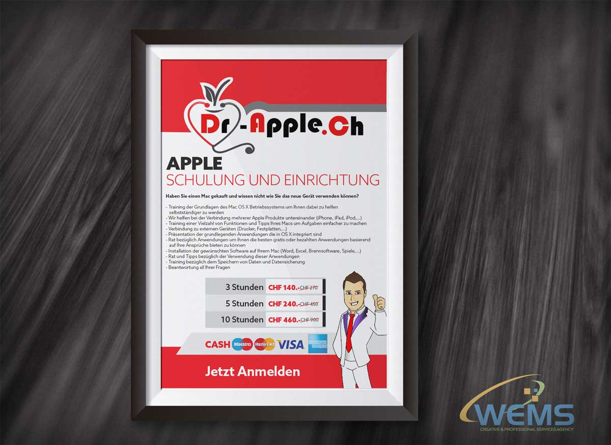 wems dr apple shulung poster - Graphic Design, Logo Design, Corporate Identity Design | WEMS Agency